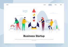 Zakelijk opstarten moderne platte ontwerpconcept. Start werk- en mensenconcept. Bestemmingspaginasjabloon. Conceptuele platte vectorillustratie voor webpagina, website en mobiele website.