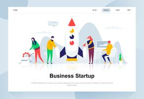 Business startup modern flat design concept. Launch work and people concept. Landing page template. Conceptual flat vector illustration for web page, website and mobile website.