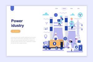 Plantilla de página de aterrizaje del concepto de diseño plano moderno de la industria de energía. Aprendizaje y concepto de personas. Ilustración de vector plano conceptual para página web, sitio web y sitio web móvil.