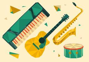 ilustração em vetor geométrico poligonal de instrumento musical