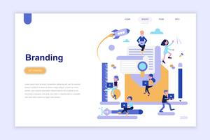 Modelo de página de destino de branding e publicidade conceito moderno design plano. Aprendizagem e conceito de pessoas. Ilustração em vetor plana conceitual para a página da web, site e site móvel.
