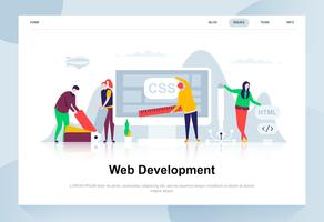 Web development modern flat design concept. Developer and people concept. Landing page template. Conceptual flat vector illustration for web page, website and mobile website.