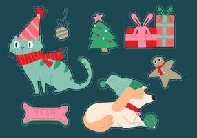 Cat And Dog Christmas Winter Sticker Vector Illustration