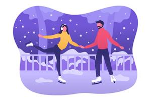 Vecteur de patinage sur glace de personnes