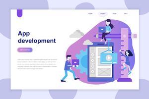 Modern plat ontwerpconcept van app-ontwikkeling voor website en mobiele website. Bestemmingspaginasjabloon. Kan gebruiken voor webbanner, infographics, hero images. Vector illustratie.