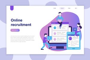 Modern flat design concept of Recruitment for website and mobile website. Landing page template. Can use for web banner, infographics, hero images. Vector illustration.