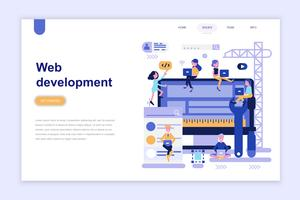 Landing page template of web development vector