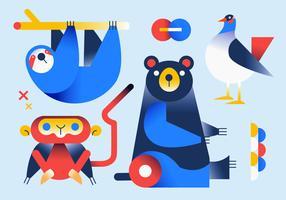 Gradient Geometric Simple Shape Animals vector Illustration