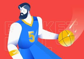 Dribbling Ball Basketball Player Vector Illustration