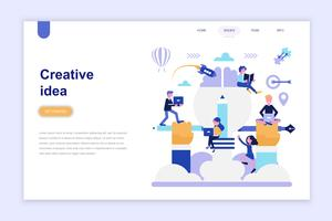 Landing page template of creative idea vector