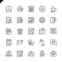 Thin line office icon set