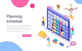 Modern flat design isometric concept of Planning Schedule for banner and website. Landing page template. Team of businessmen are constructing business plan. Vector illustration.