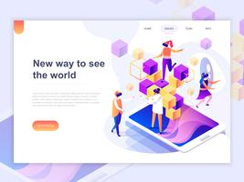 Landing page template of virtual augmented reality glasses concept with people learning and entertaining. 3D isometric concept of web page design for website and mobile website. Vector illustration.