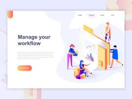 Landing page template of business and workflow management vector