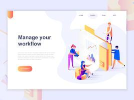 Plantilla de página de aterrizaje de negocios y gestión de flujo de trabajo Concepto isométrico 3D de diseño de página web para sitio web y sitio web móvil. Ilustracion vectorial
