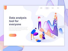 Landing page template of data analysis, and office situations. 3D isometric concept of web page design for website and mobile website. Vector illustration.