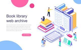 Modern vlak ontwerp isometrisch concept Boekbibliotheek voor banner en website. Bestemmingspaginasjabloon. Technologie en literatuur, digitale cultuur op mediatheek. Vector illustratie.