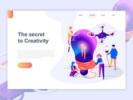 Landing page template of creative process and brainstorming. 3D isometric concept of web page design for website and mobile website. Vector illustration.