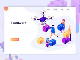 Landing page template of business, workflow management and office situations. 3D isometric concept of web page design for website and mobile website. Vector illustration.