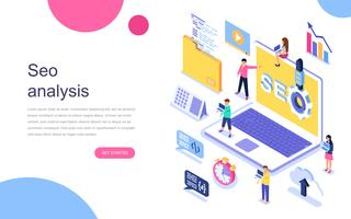 Modern flat design isometric concept of Seo Analysis for banner and website. Landing page template. Teamwork project, web agency and new company project. Vector illustration.