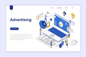 Publicidade e promo conceito isométrico moderno design plano. Conceito de propaganda e pessoas. Modelo de página de destino. Ilustração isométrica conceptual do vetor para a Web e o projeto gráfico.