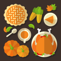 Thanksgiving Table Overhead Vector
