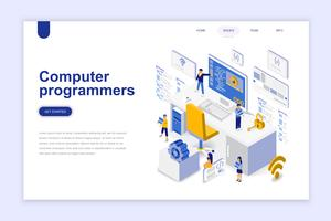 Computer programmers modern flat design isometric concept. Software development and people concept. Landing page template. Conceptual isometric vector illustration for web and graphic design.