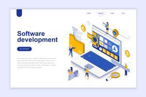 Softwareontwikkeling moderne platte ontwerp isometrische concept. Ontwikkelaar en mensenconcept. Bestemmingspaginasjabloon. Conceptuele isometrische vectorillustratie voor web- en grafisch ontwerp.