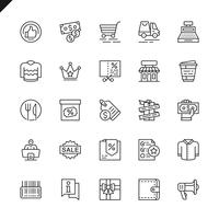 Thin line shopping malls, retail icon set