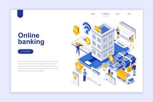 Online banking modern flat design isometric concept