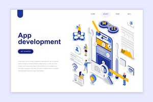App ontwikkeling moderne platte ontwerp isometrische concept. Smartphone en mensen concept. Bestemmingspaginasjabloon. Conceptuele isometrische vectorillustratie voor web- en grafisch ontwerp.