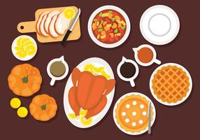 Thanksgiving-tafel Overhead Vector