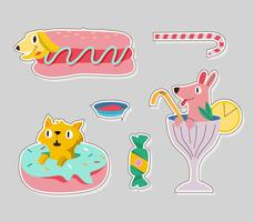 Cute Dog and Cat Food Sticker Illustration