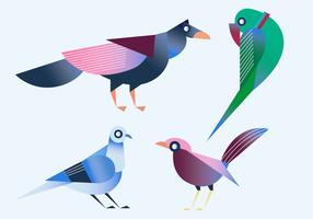 Geometric Simple Shape Bird Vector Illustration