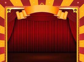 Cartel de circo con escenario y cortinas rojas.