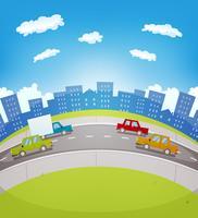 Tráfego urbano dos desenhos animados