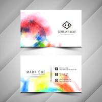 Abstract beautiful watercolor business card design template