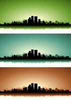 Conjunto de banners de paisaje urbano de verano