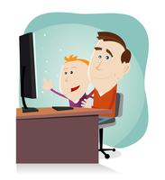 Daddy and son surfing on the net vector
