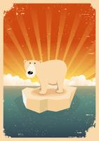 Poster vintage grunge di orso polare bianco