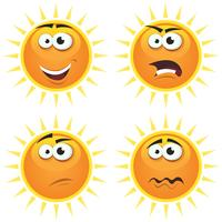 Cartoon Sun Icons Emotionen