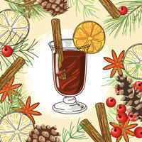 Christmas mulled wine on flavour background