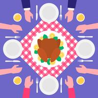 Thanksgiving Day Food Roasted Turkey Top View Illustration