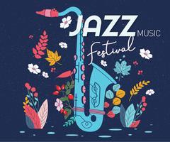 vettore del festival di jazz del manifesto di saxaphone
