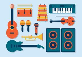 Muziekinstrumenten Knolling Vector