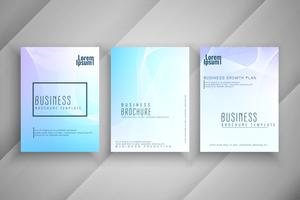 Abstract colorful wavy business brochure template design set