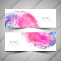 Abstract watercolor style banners design set