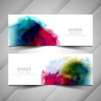 Abstract elegant watercolor style banners design set