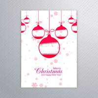 Beautiful poster of snowflakes with abstract christmas ball desi
