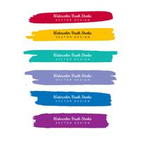 Watercolor colorful hand draw stroke set design vector